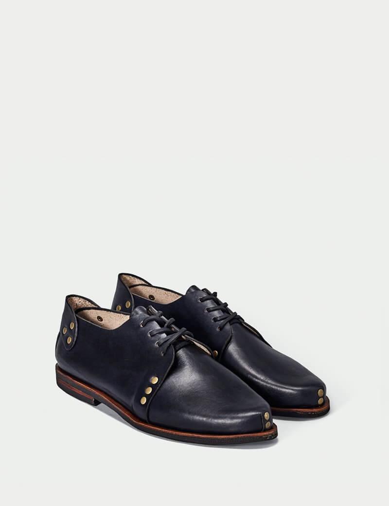 Black Studded Derby Shoe