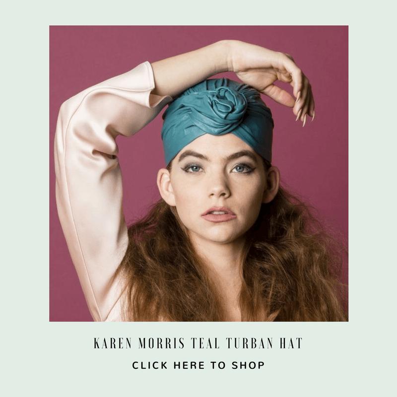 Karen Morris Teal Turban Hat