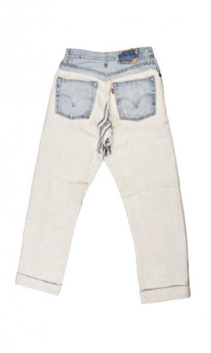 Repurposed Denim and Linen Jeans