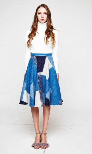 Blue Colourful Check Skirt