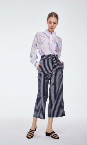 Navy Blue Striped Culottes