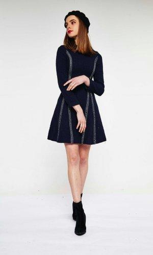 Textured Navy Mini Dress