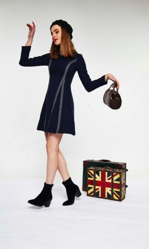 Textured Navy Mini Dress