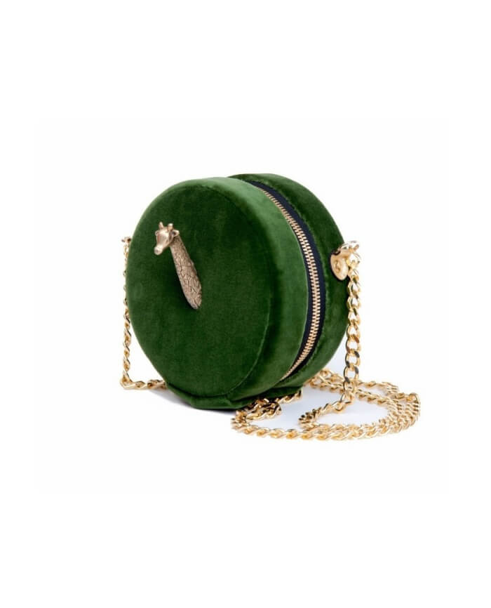 Jirafa Green Velvet Bag