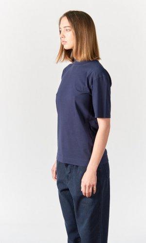 Blue Mock Neck Crew T-Shirt