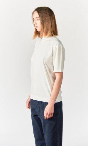 Cream Mock Neck Crew T-Shirt