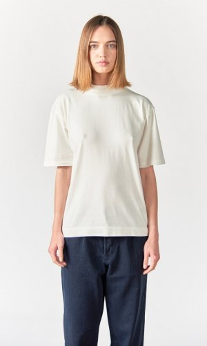 Abel Cream Mock Neck Crew T-Shirt