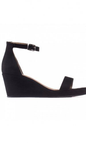 Linda Black Wedge Sandals