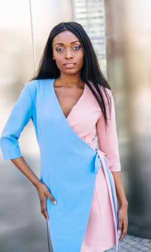 Elora Pastel Wrap Dress