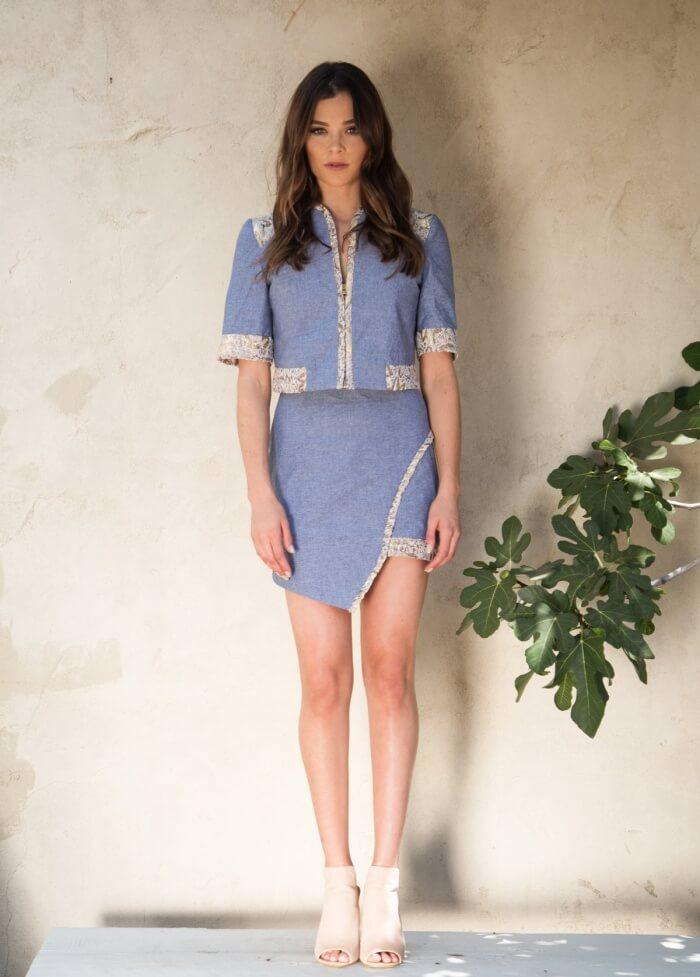 Analena Chambray Asymmetric Skirt