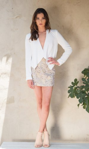 Elisa White Draped Jacket
