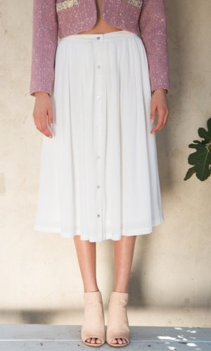 Bianca White Midi Skirt