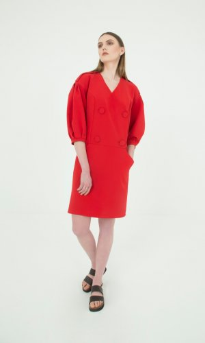 Inge Buttoned Red Dress
