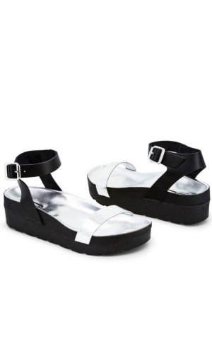 Black & Silver Flatform Sandals