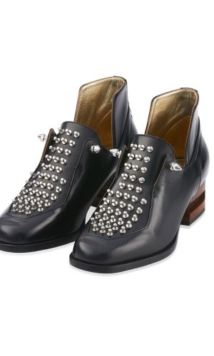 Spiked Heeled Leather Miniboot