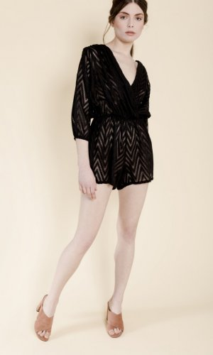 Luana Black Chiffon Playsuit