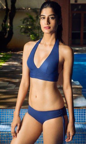 Blue Triangle Bikini Top