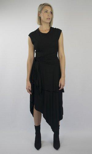 Ava Black Asymmetrical Wrap Dress