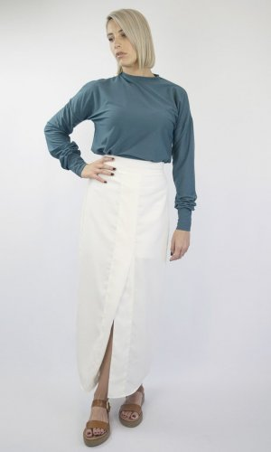 Betty Off White Split Front Skirt