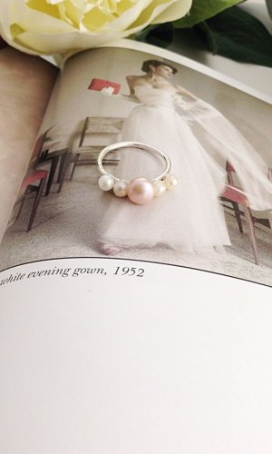 Elizabeth Pink Pearl Cluster Ring