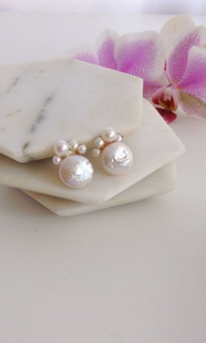 Ginger Coin and Freshwater Pearl Earring