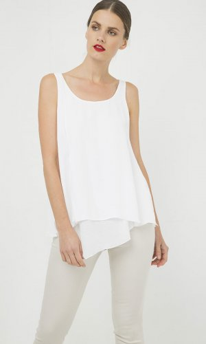 Sleeveless White Top