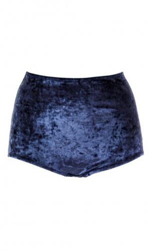 Blue velvet high waist knickers front view