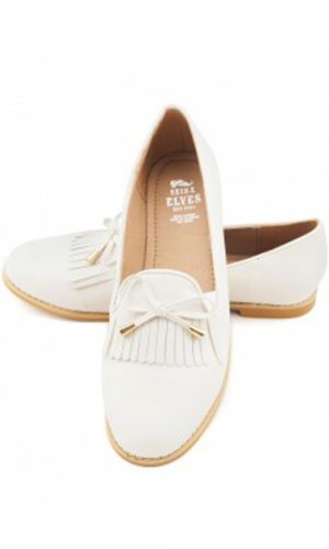 Audrey Cream Fringe Loafer