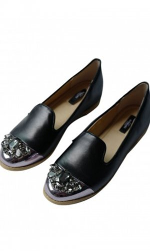 Marcy Jewelled Black Loafer