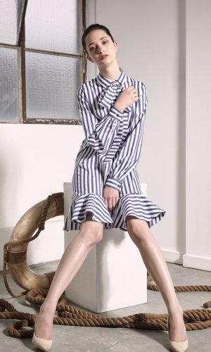Uji Striped Ruffle Dress