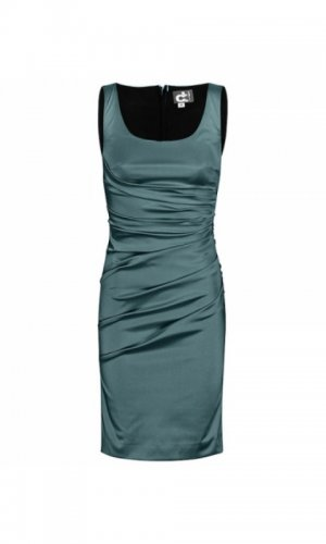 Green sleeveless satin dress