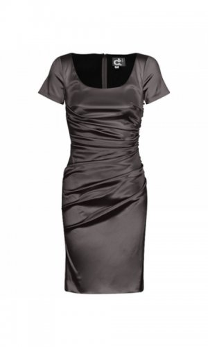 Grey short sleeve satin dress