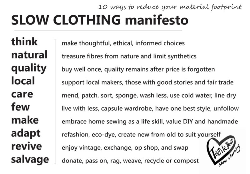 Slow clothing manifesto