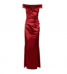 red satin dress off model
