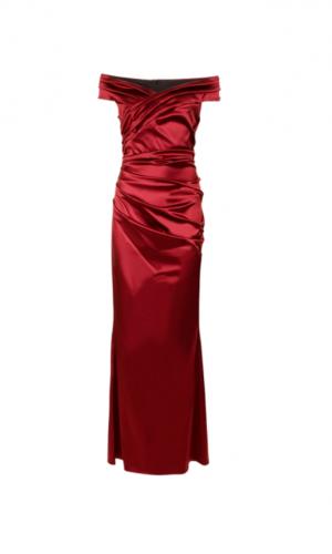 red satin dress off model