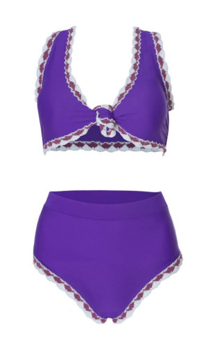 Cyan High Rise Purple Bikini