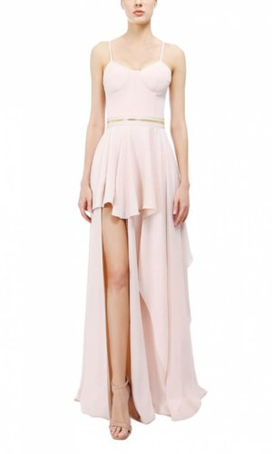 Pink High Slit Evening Gown