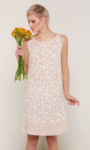Arabella Beige Polka Dot Dress