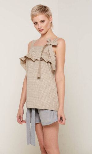 Lilliana Beige Ruffle Top