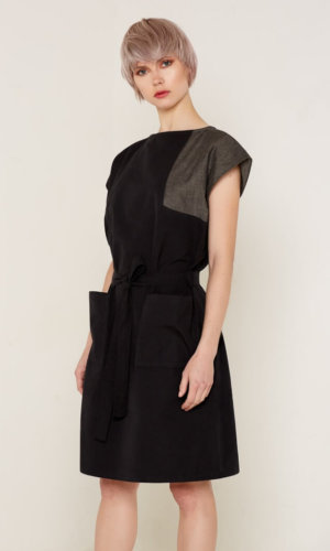 Elara Black Tie Waist Dress