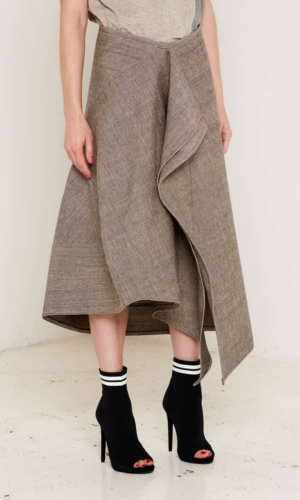 Christina Beige Draped Skirt