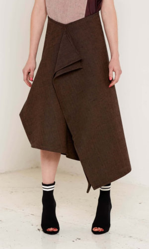 Christina Brown Draped Skirt