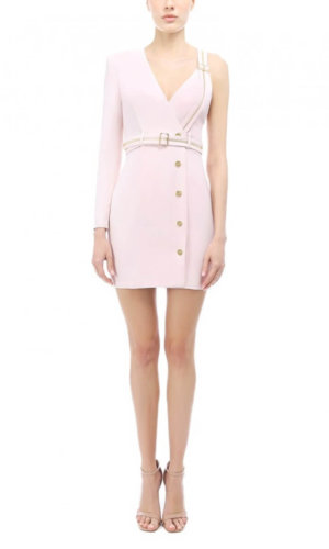 Asymmetric Pink Blazer Dress