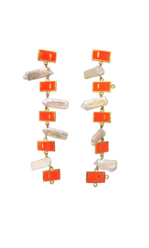 Long Orange Pearl Earrings
