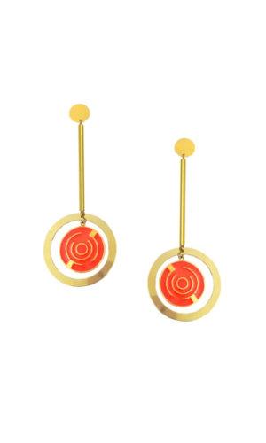 Orange Round Maze Earrings