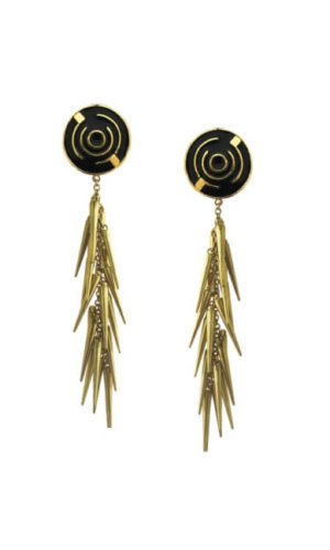 Black Cluster Spike Earrings