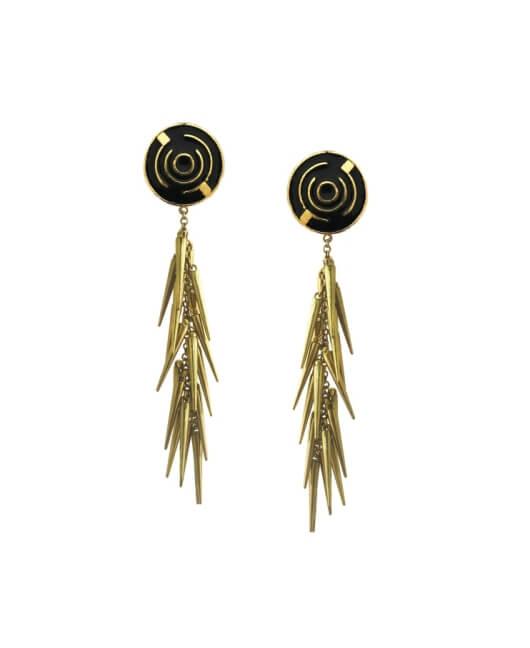 Black Cluster Spike Earrings