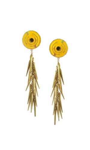 Yellow Cluster Spike Earrings