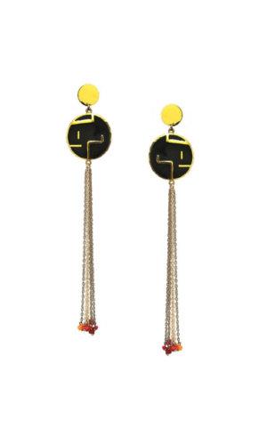 Round Maze Tassel Earrings