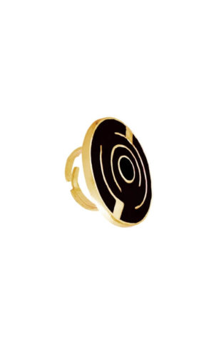 Black Round Maze Ring